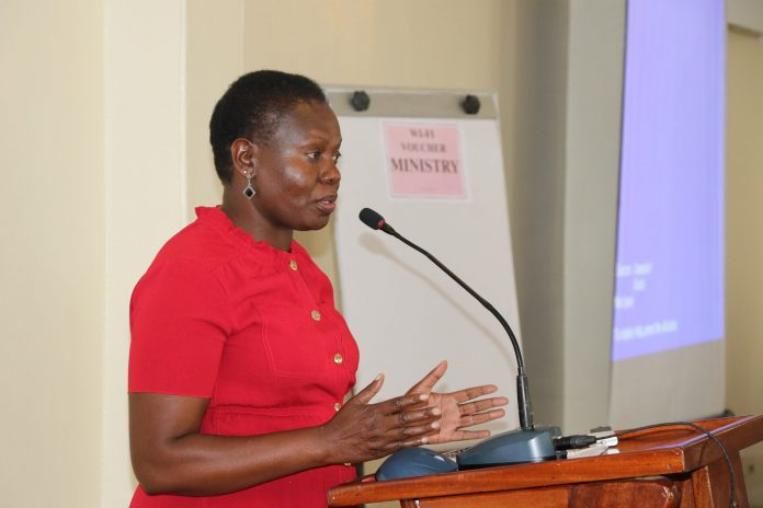 Lands CS, Farida Karoney addressing a stakeholders forum on registering property and ease of doing business yesterday at a Nairobi hotel.