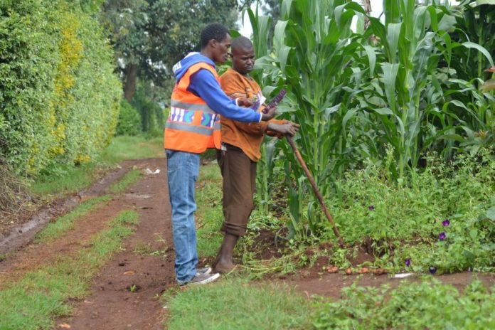 poa! Internet sales agent explaining a point to a farmer in a village in Kiambu