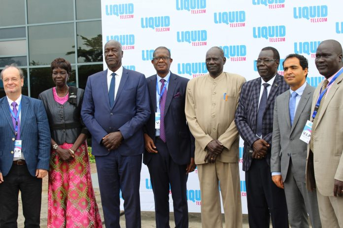 Group photo of Liquid Telecom team with South Sudan government officials led by the Minister for ICT Michael Makuei Lueth (4th from right)during the official inauguration at the Ministry in Capital Juba.