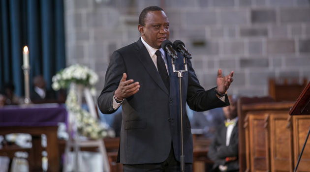 Kenyatta (pictured) who is accompanied by Deputy President William is among national leaders set to pay their final respects to De Mathew who played a key role in both his 2013 and 2017 presidential campaigns/FILE – PSCU