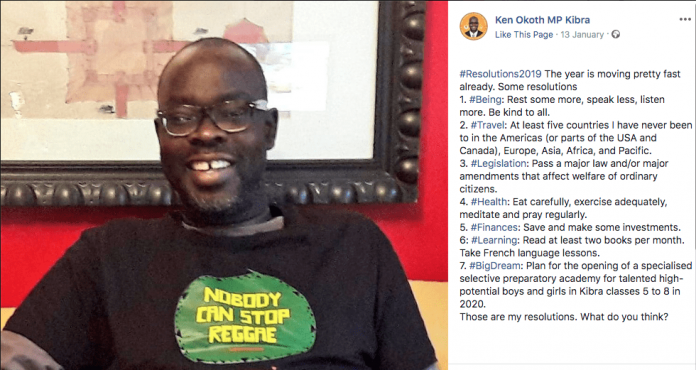 What Ken Okoth wrote on Facebook as his 2019 resolutions. Ann Thumbi not included