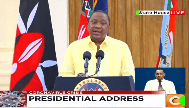President Uhuru Kenyatta addresses the nation at State House on April 6, 202