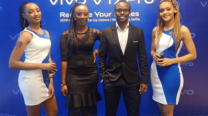 TOP: James Irungu – second from right – with colleagues during the launch of Vivo V17 Pro