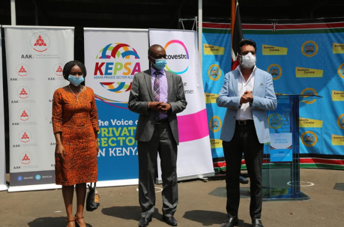 (L-R) Kenya Private Sector Alliance (KEPSA) CEO Carole Karuga, Ministry of Health Director of Special programs Dr Kepha Ombacho and Kenya Healthcare Federation (KHF) Chairman Dr. Amit Thakker. KHF presented a shipment of Personal Protective Equipment and other medical equipment to the Ministry of Health offices to help with containing COVID-19.