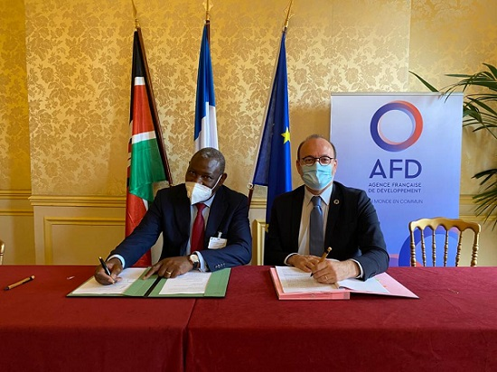 Equity Group Managing Director and CEO, Dr. James Mwangi (left) and French Development Agency, Agence Française de Développement Group's (AFD) CEO Remy Rioux (right) sign a USD 100 million partnership agreement in Paris